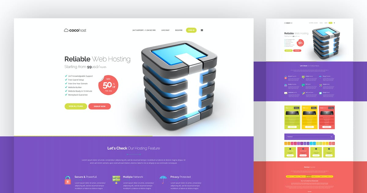Hosting PSD Template by themeboo on Envato Elements