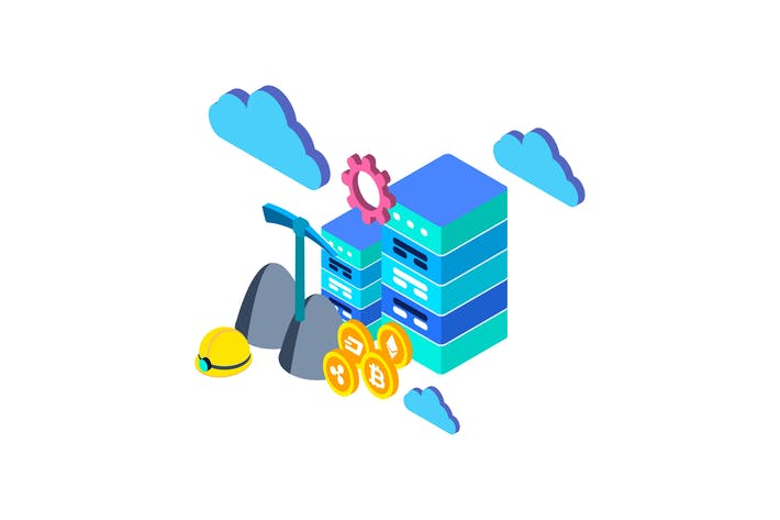 Thumbnail for Cloud Mining Isometric Illustration
