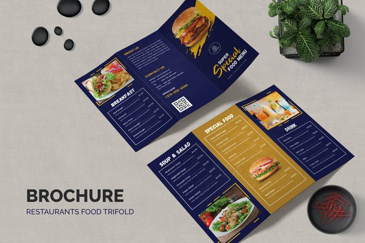 Restaurants Menu Food Trifold Brochure