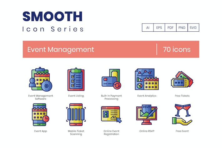 Thumbnail for 70 Event Management Icons | Smooth Series
