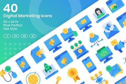 Conjunto de 40 Íconos de marketing digital - plano