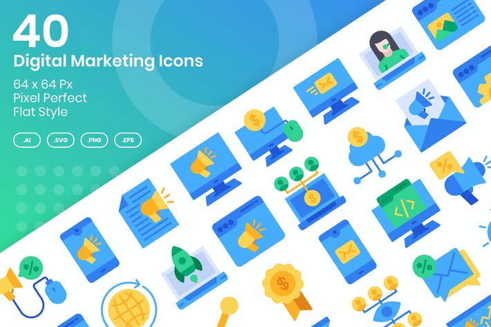 Thumbnail for 40 Digital Marketing Icons Set - Flach