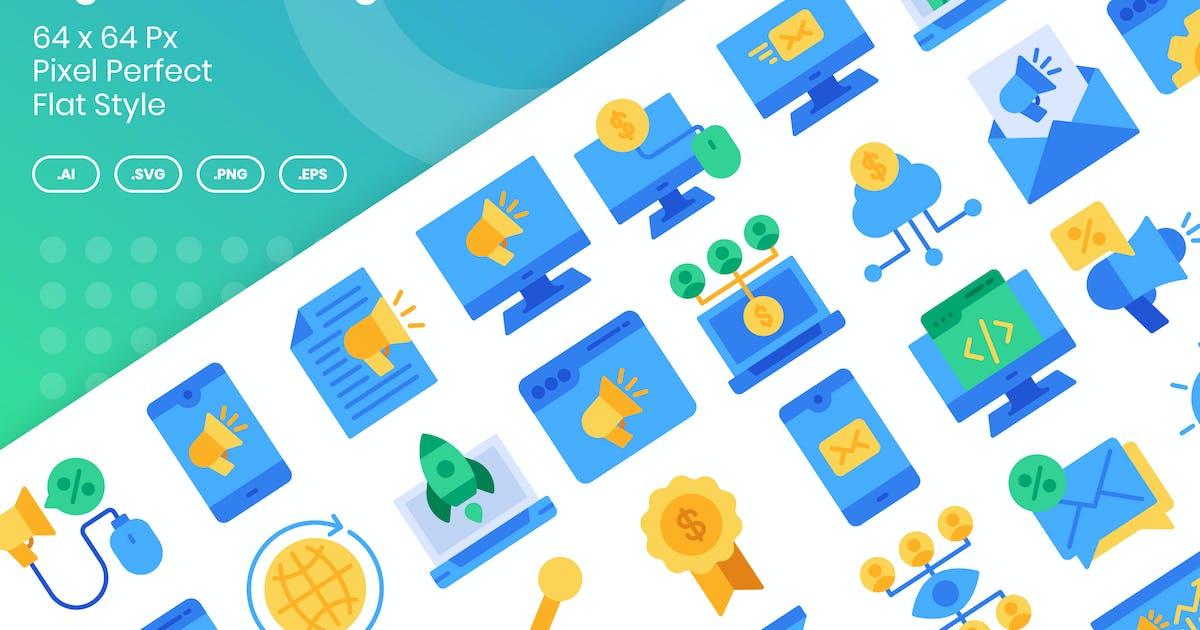 Download 40 Digital Marketing Icons Set - Flat by kmgdesignid