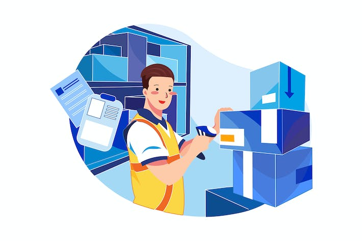 Thumbnail for Man scanning barcode of product Illustration
