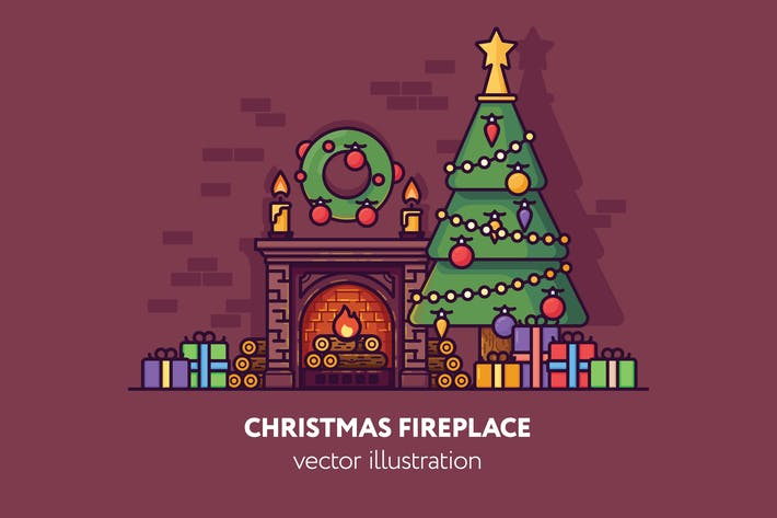 Thumbnail for Christmas fireplace vector illustration