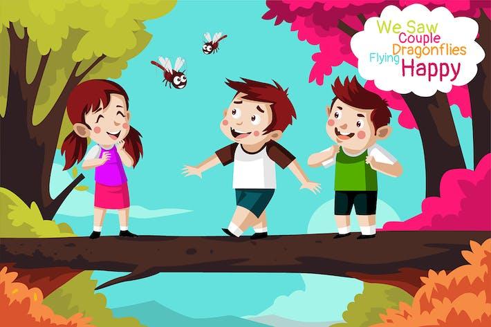 froh fliegen - Illustration