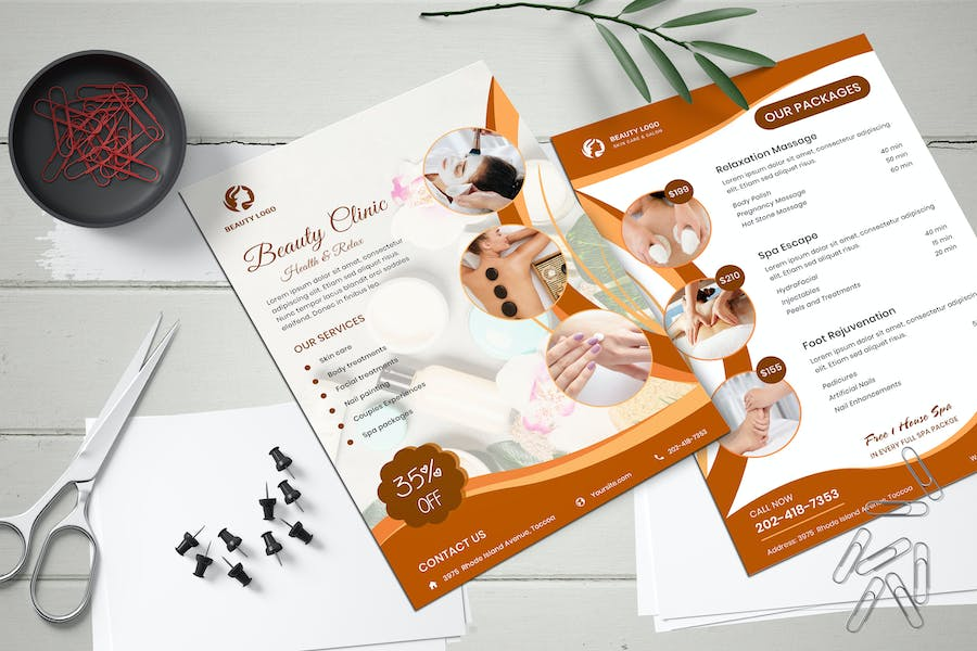 Beauty Clinic Two Sided Price List Flyer Template