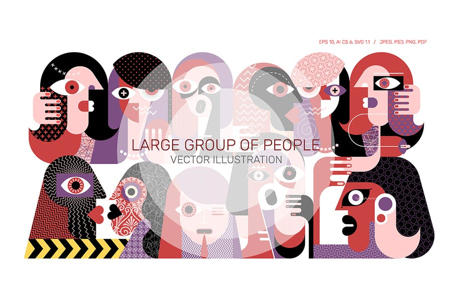 Векторная иллюстрация большой группы людей
