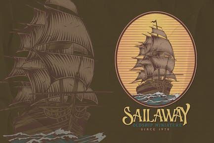 Old Sailing Boat - Traveling Logo