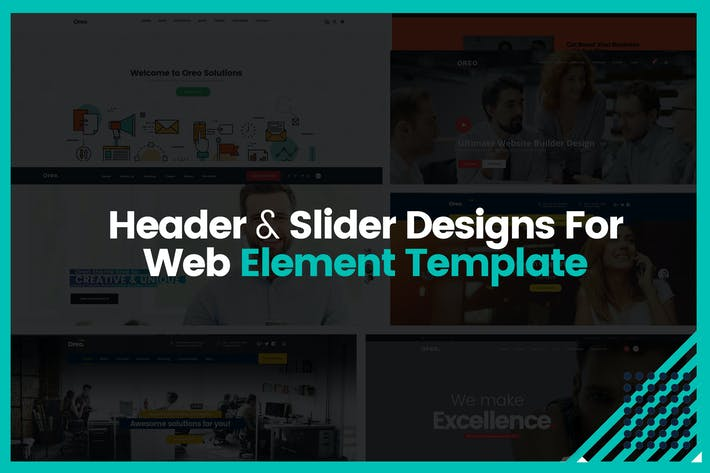 Thumbnail for Header & Slider Designs For Web Element Template