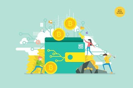Bitcoin Wallet Vektor Konzept Illustration