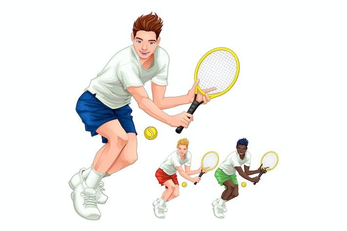 Three Tennis Players