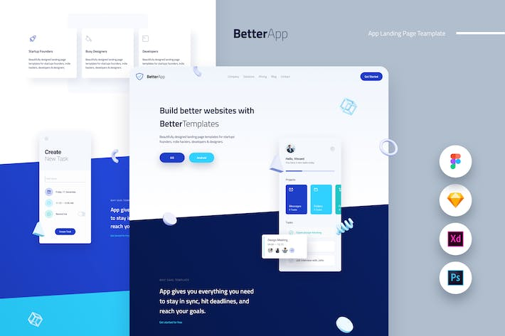 Thumbnail for Better Mobile App Landing Page Template UI Kit
