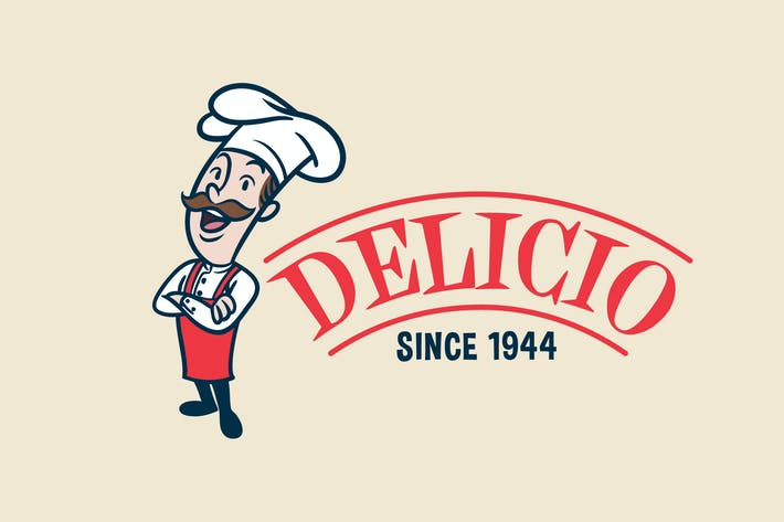 Thumbnail for Retro Vintage Cartoon Chef or Cook Mascot Logo