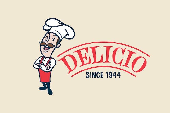 Thumbnail for Retro Vintage Cartoon Chef oder Koch Maskottchen Logo