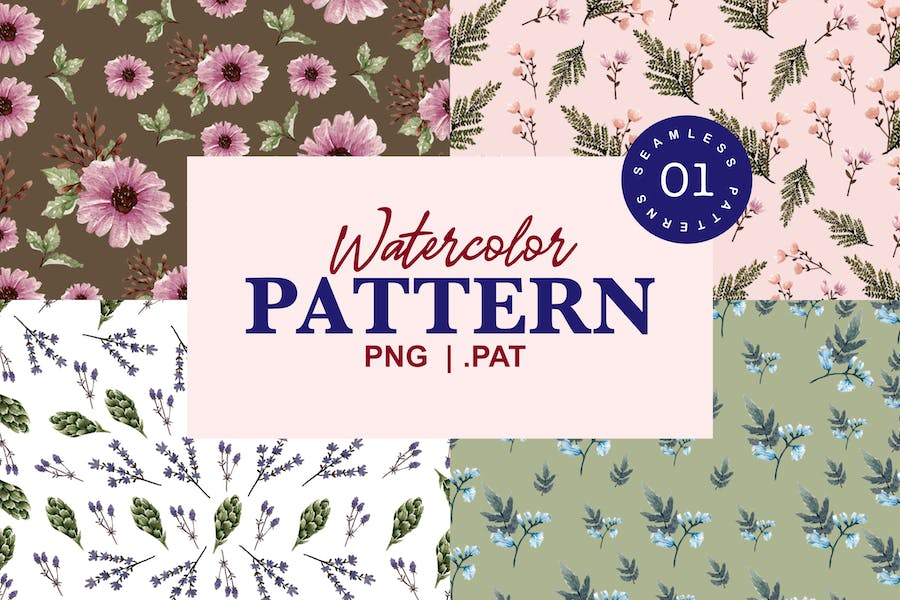 Bloomy - Seamless Watercolor Patterns