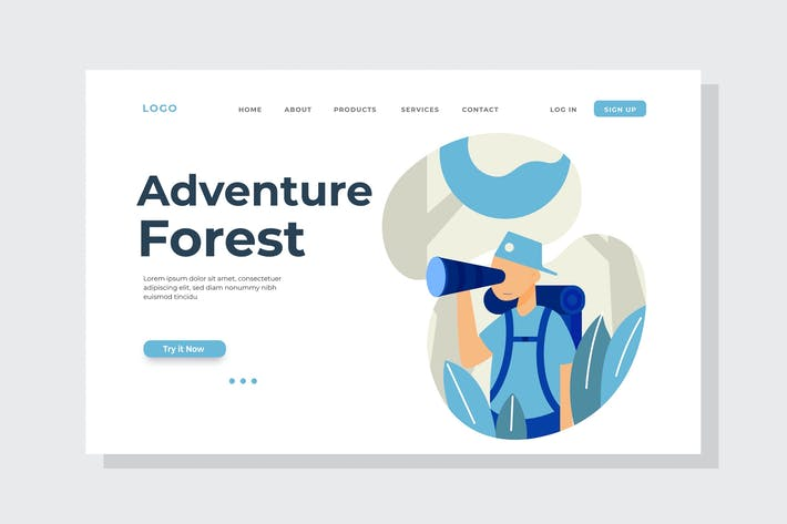 Thumbnail for Adventure Forest Landing Page Illustration