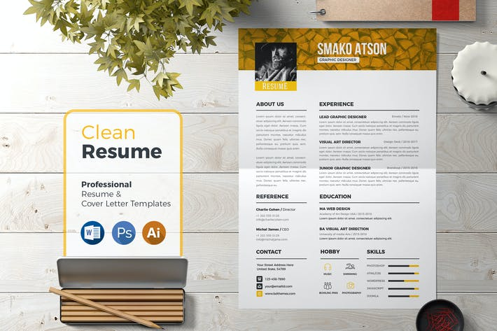 Thumbnail for Resume Template Retro 03