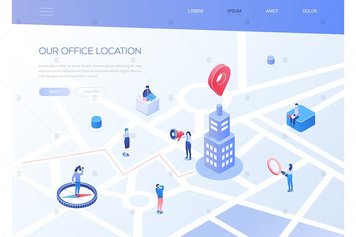Thumbnail for Our office location - colorful isometric banner