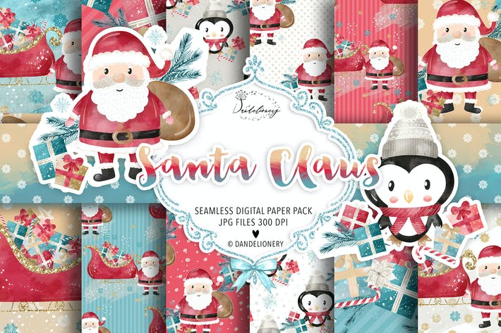 Thumbnail for Santa Claus digital paper pack