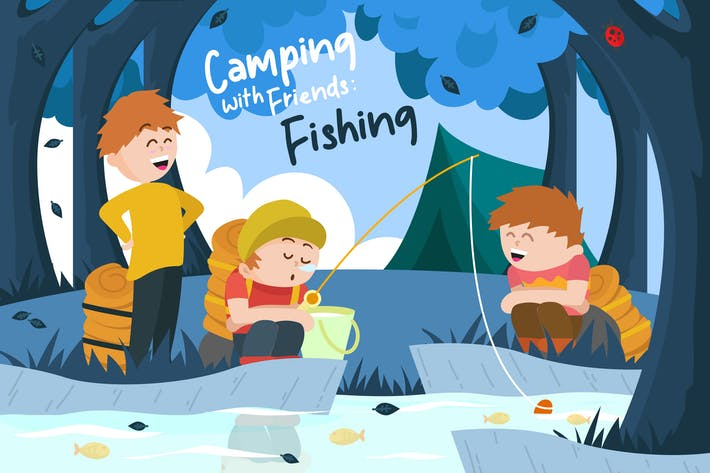 Thumbnail for Happy Fishing - Vector Illustration