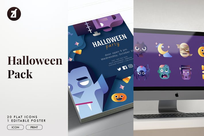 Cover Image For Halloween icon pack with bonus graphic templates