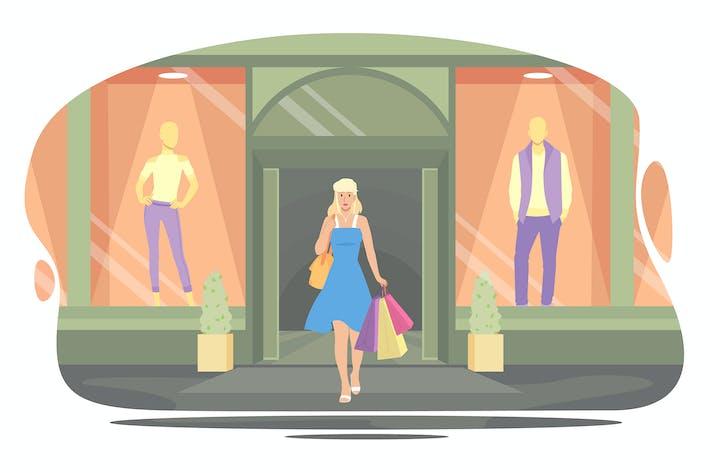 Thumbnail for Mädchen verlässt den Laden nach dem Einkauf mit Paketen