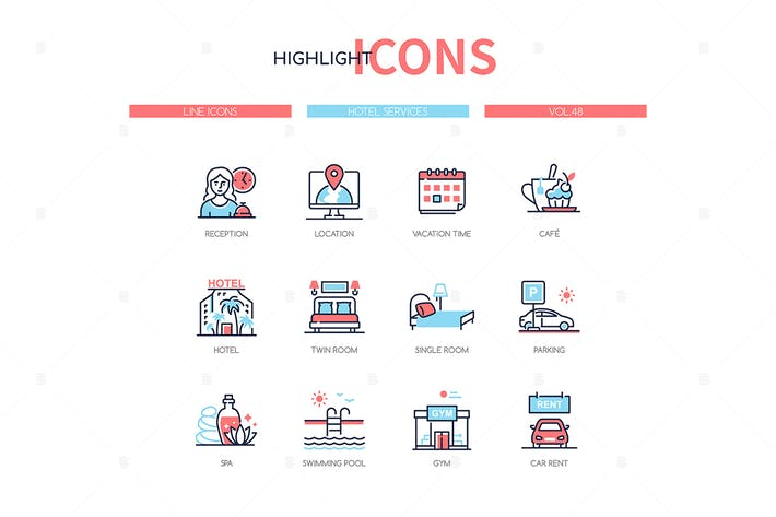 Thumbnail for Hotel services - line design style icons set