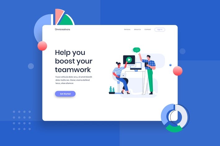 Thumbnail for Chatting with customer care landing page website