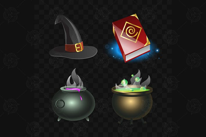Thumbnail for Witchcraft Elements - vector set of clip art