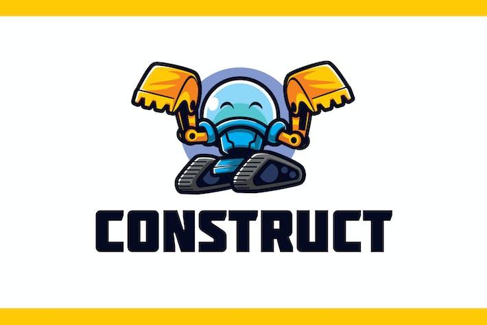 Thumbnail for Cartoon Excavator Robot Builder Mascot Logo