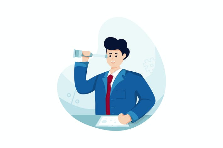 Thumbnail for Businessman holding a binocular looks further