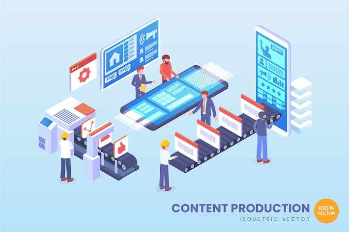 Thumbnail for Isometric Content Production Vector Concept