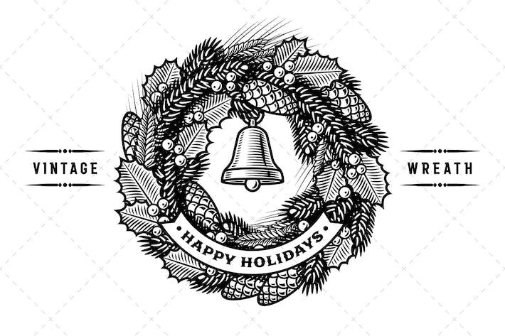 Thumbnail for Corona de Navidad Retro en blanco y negro