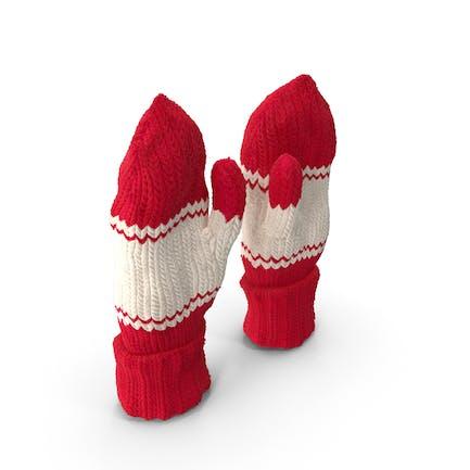 Par de manoplas de lana rojas