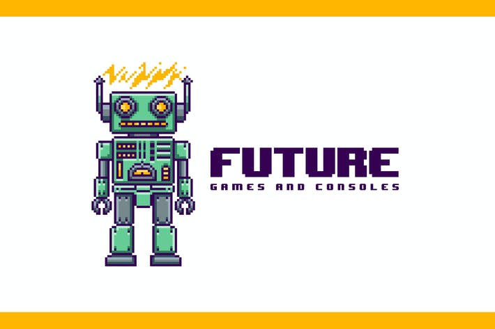 Thumbnail for Pixel Robot Mascot - Retro Pixel Art Logo