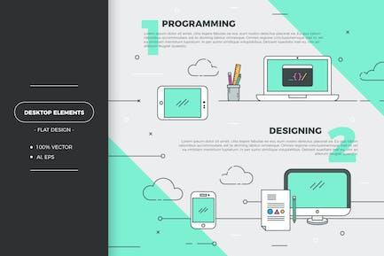 Flat creative design elements
