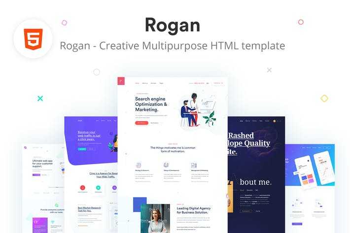 Cover Image For Rogan - Creative Multipurpose HTML + RTL template