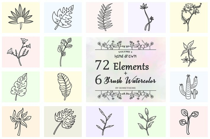 Thumbnail for 72 HandDrawn Floral Elements + Wreaths HR