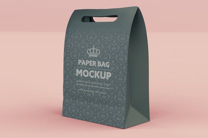 Sac à provisions Kraft fermé Mockup