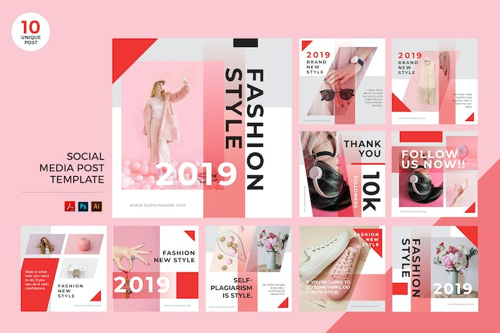 Thumbnail for Pink Fashion Style Social Media Kit PSD & AI