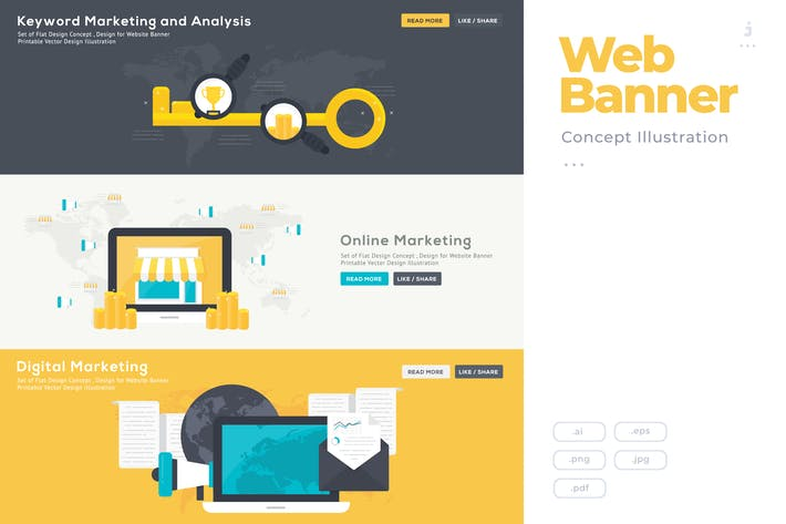 Thumbnail for Flat Design Banner Concept for SEO Marketing