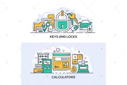 Keys and locks and calculators banners