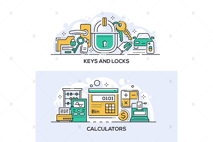 Keys and locks and calculators banners