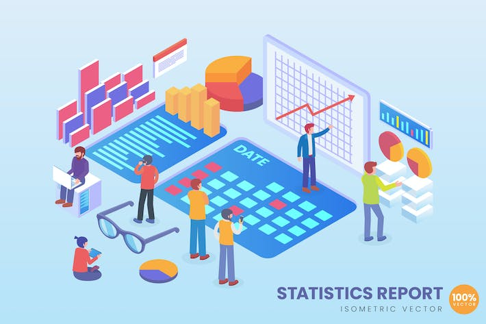 Thumbnail for Isometric Statistics Report Vector Concept