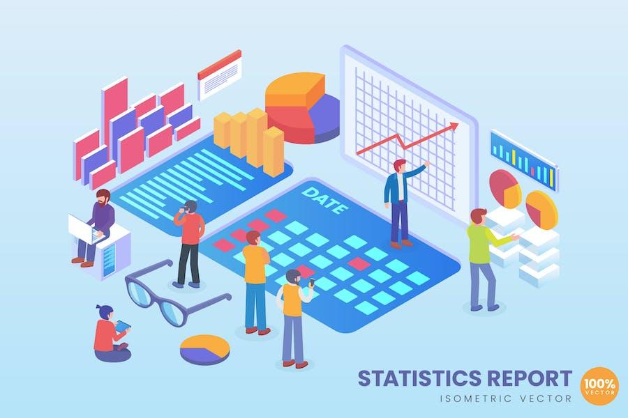 Isometric Statistics Report Vector Concept