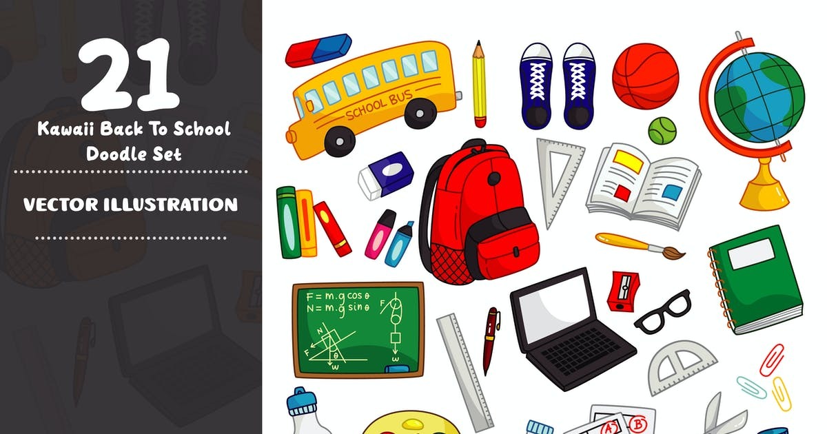 Download Kawaii Back to School Doodle Set by GoDoodle