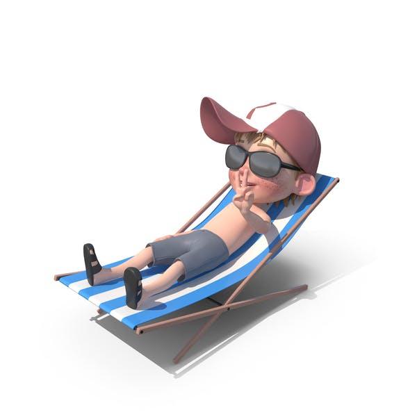 Cartoon Boy Harry Sunbathing