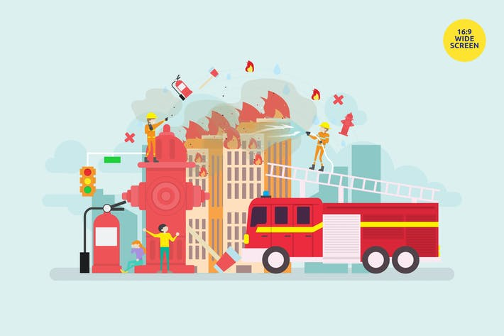 Thumbnail for Firefighter On Duty Vector Concept Illustration