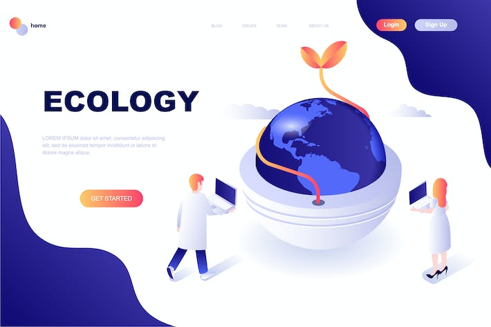 Thumbnail for Ecology Earth Isometric Landing Page Template